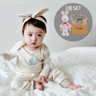 [CONY]토끼애착인형+오가닉신생아헤어밴드 2종세트