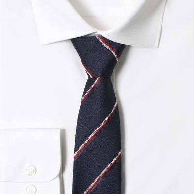 남자 자동 면접 넥타이 (스트라이프 네이비)