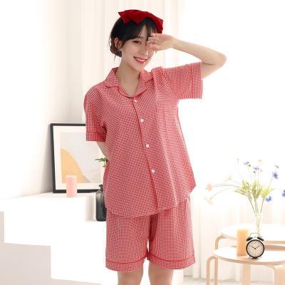 테라우드 여성용 미니 체크 원포켓 반팔 잠옷상하세트