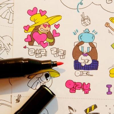 색칠스티커-노랑마녀와 친구들