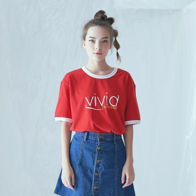 비비드 링거 티셔츠 (레드)