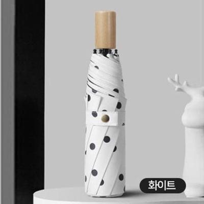 원목 고급 3단 UV 차단 손잡이 이쁜 수동 우산 화이트