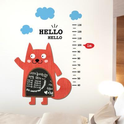 [우드스티커] 북유럽캐릭터- 고양이 칠판 키재기
