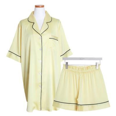 [쿠비카]반팔 카라넥 3부팬츠 투피스 여성잠옷 W472