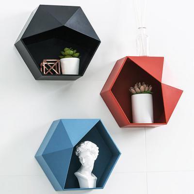 육각형 벽 부착 욕실 소품 주방 수납 정리함