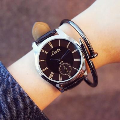 라운드 가죽 손목시계