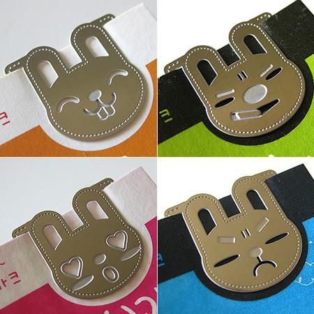 토끼씨의 하루 책갈피카드 (4개 1세트) - metal bookmark
