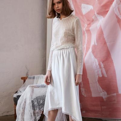 언발란스 사틴 롱 스커트 화이트 unbalance satin long skirts white
