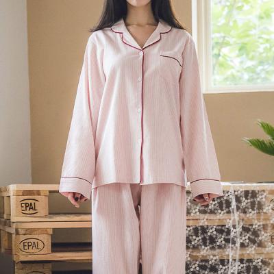 [쿠비카]올록볼록 스트라이프 투피스 여성잠옷 W234