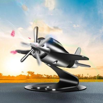 태양열 프로펠러 비행기 차량용방향제 플라워 블랙082
