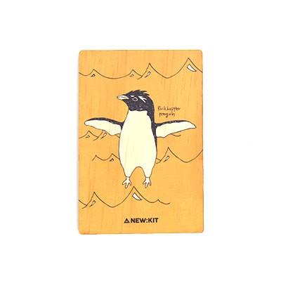 멸종위기동물 알림 나무엽서 - Rockhopper Penguin