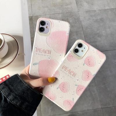 아이폰11 PRO MAX SE2 XR 복숭아 사각 실리콘 케이스