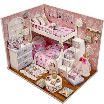 [adico]DIY미니어처 하우스 - 핑크 2층 침대방 new