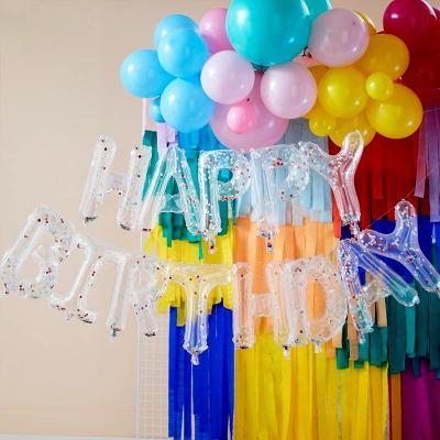 [빛나파티] 컨페티 Happy Birthday 투명 글씨 풍선