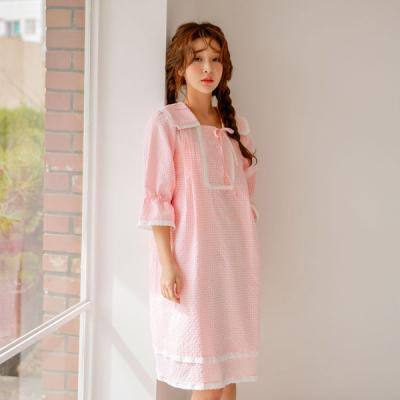 [쿠비카]마린 체크 순면 원피스 7부 여성잠옷 W454
