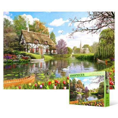 1000피스 직소퍼즐 - 튤립이 만발한 호수의 정원