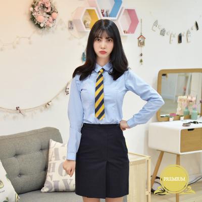 [빅사이즈] 프리미엄 여성 고급 스판 파랑 셔츠 ~4XL
