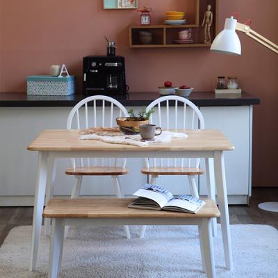 [리비니아]캔버윈저 4인용원목식탁세트(벤치)3colors