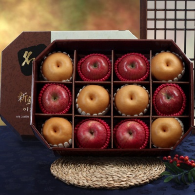 [GIFT TWO] 명품팔각 실속 사과,배 선물세트/5kg