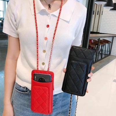 휴대폰 퀄팅 가죽 카드지갑 체인 스트랩 파우치 가방