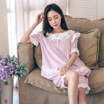 [쿠비카]이단 레이스 반소매 앤 5부팬츠 여성잠옷W144