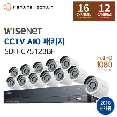 한화테크윈 16채널 12캠 CCTV AIO패키지 SDH-C75123BF