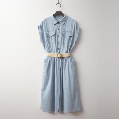 Summer Denim Fit N Flare Shirts Dress - 벨트포함