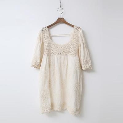 Linen Lace Net Puff Blouse