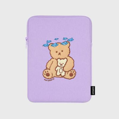 Blue bird bear-purple-ipad pouch