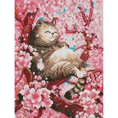 벚꽃과 고양이 (캔버스형) 보석십자수 30x40