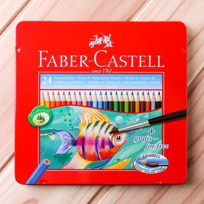 (파버카스텔) 24색 수채색연필+1p 붓 세트(틴) (20x18