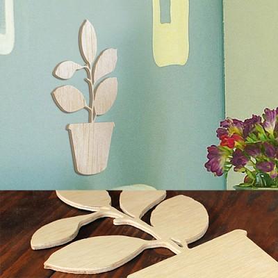 [우드스티커] 우든화분 (반제품) - 입체우드 월데코  포인트 집꾸미기 벽장식