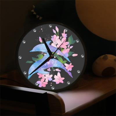 nf273-LED시계액자25R_아름다운꽃과돌고래