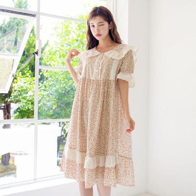 [쿠비카]투라인 레이스 프릴넥 원피스 여성잠옷 W556