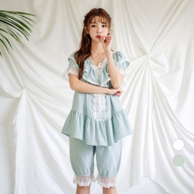 [쿠비카]이중 프릴 레이스 5부 투피스 여성잠옷 W593
