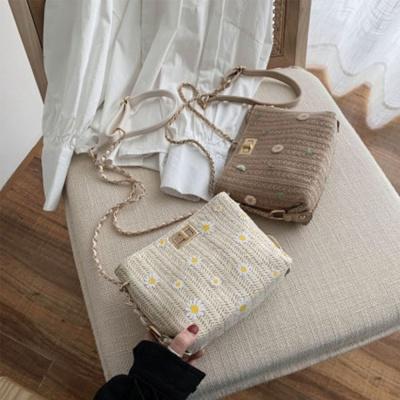 플라워 체인 크로스 라탄백 숄더백 여름 데일리 가방