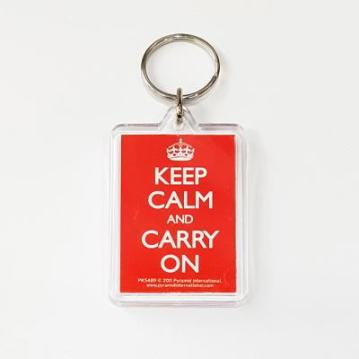 PK5489 아크릴 키링 KEEP CALM AND CARRY ON (RED)