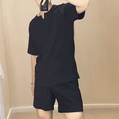 남녀공용 커플 여름 데일리 티셔츠 넥 트임 스판티