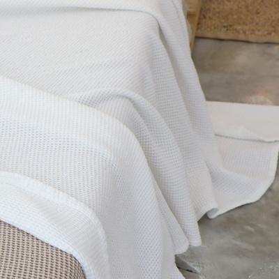 꿀잠 모달와플 피그먼트 이불 겸용 스프레드 - 화이트