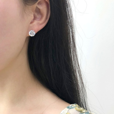14k 화이트 큐빅 기본 침 귀걸이 3mm 4mm 5mm 6mm 7mm