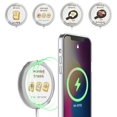 아이폰 맥세이프 무선충전기 브런치 투명 하드 케이스