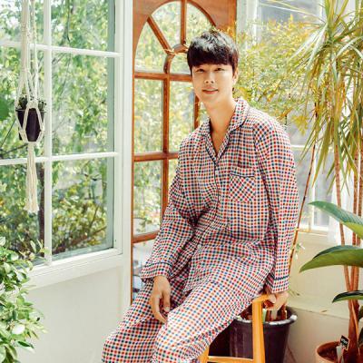 [쿠비카]캐주얼 미니 체크 카라 긴팔 남성잠옷 M101
