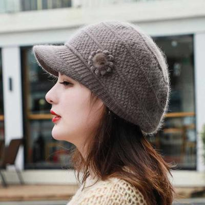 Mujer Invierno knit 앙고라꽃 챙모자 4color