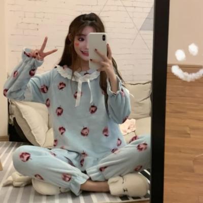 여성 홈웨어 데일리 수면 잠옷 세트 파자마 레이스