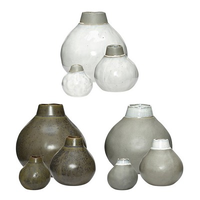 [Hubsch]Vase, ceramics, light grey, s/3 화병