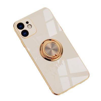 P585 아이폰12미니 골드라인 메탈 링 젤리 케이스
