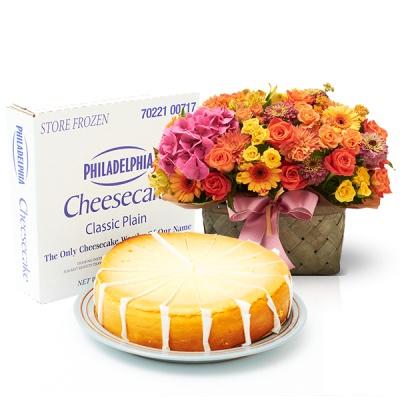 필라델피아 치즈케익 플레인(1700g)+로즈판타지바구니