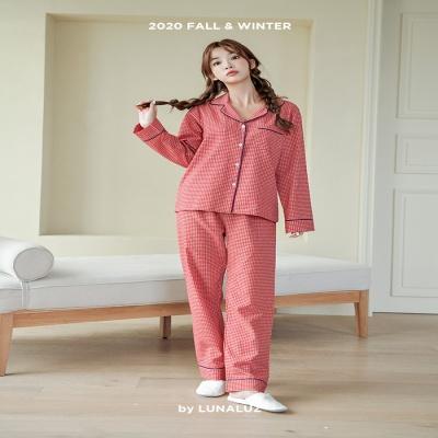 [쿠비카]체크 위 포인트 파이핑 투피스 여성잠옷 W659