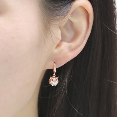 14K 행운 큐티 부엉이 귀걸이