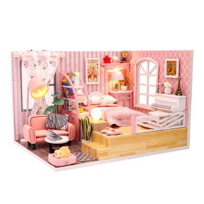 DIY 미니어처하우스 핑크패턴 안방